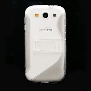 S Curve TPU &amp; Plastic Stand Case for Samsung Galaxy S 3 / III I9300 I747 L710 T999 I535 R530 - Grey