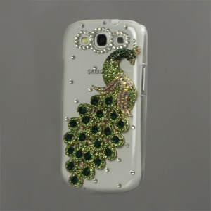 Luxury Peacock Diamond Crystal Case for Samsung Galaxy S 3 / III I9300 I747 L710 T999 I535 R530 - Green