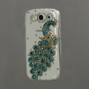 Luxury Peacock Diamond Crystal Case for Samsung Galaxy S 3 / III I9300 I747 L710 T999 I535 R530 - Blue