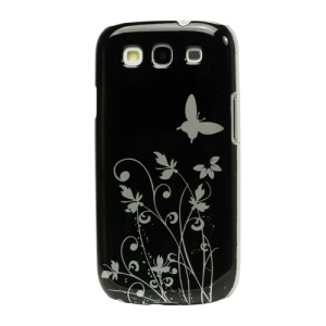 Butterfly Flowers Hard Case for Samsung Galaxy S 3 / III I9300 I747 L710 T999 I535 R530 - Black