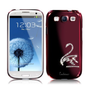 Eileen Swan Diamante Case for Samsung Galaxy S 3 / III I9300 I747 L710 T999 I535 R530 - Wine Red