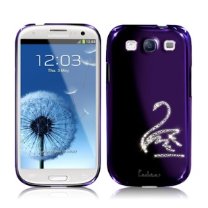 Eileen Swan Diamante Case for Samsung Galaxy S 3 / III I9300 I747 L710 T999 I535 R530 - Purple Violet