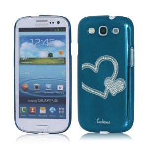 Eileen Heart Rhinestone Case for Samsung Galaxy S 3 / III I9300 I747 L710 T999 I535 R530 - Capri Blue