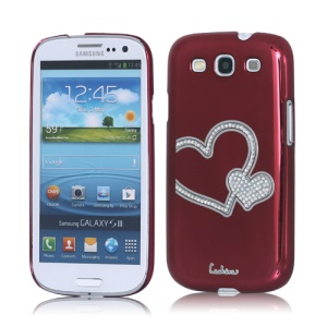 Eileen Heart Rhinestone Case for Samsung Galaxy S 3 / III I9300 I747 L710 T999 I535 R530 - Wine Red