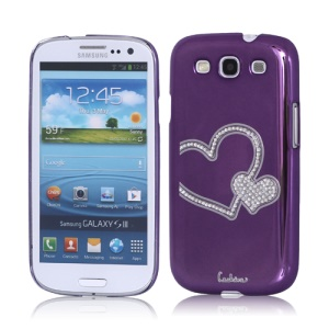 Eileen Heart Rhinestone Case for Samsung Galaxy S 3 / III I9300 I747 L710 T999 I535 R530 - Purple Violet