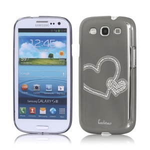 Eileen Heart Rhinestone Case for Samsung Galaxy S 3 / III I9300 I747 L710 T999 I535 R530 - Shadow Black