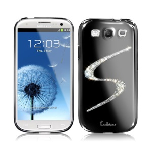 Eileen S-Lime Series Samsung Galaxy S 3 / III I9300 I747 L710 T999 I535 R530 Swarovski Case - Shadow Black