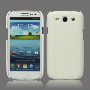 Lychee Leather Skin Hard Case for Samsung Galaxy S 3 / III I9300 - White