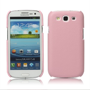 Lychee Leather Skin Hard Case for Samsung Galaxy S 3 / III I9300 - Pink
