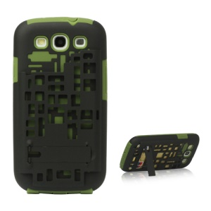 Silicone &amp; Plastic Case with Card Holder for Samsung Galaxy S 3 / III I9300 - Green / Black