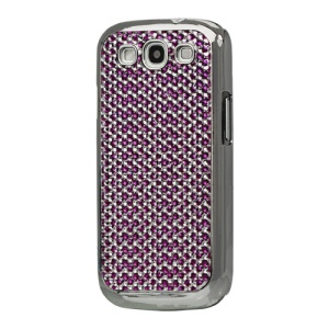 Diamond Bling Electroplating Hard Case for Samsung I9300 Galaxy S 3 / III - Silver / Purple