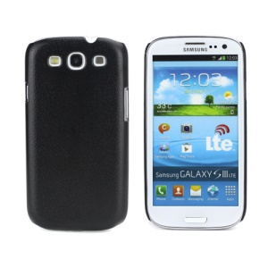 Textured Grain Plastic Hard Protective Case for Samsung Galaxy S 3 / III I9300 - Black