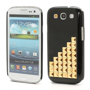 Handmade Gold Pyramid Studs Punk Style Hard Cover Case Samsung Galaxy S 3 / III I9300 - Black