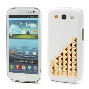 Handmade Gold Pyramid Studs Punk Style Hard Cover Case Samsung Galaxy S 3 / III I9300 - White