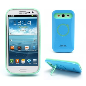 i-Glow Noctilucent PC &amp; Silicone Case w/ Stand for Samsung Galaxy S 3 / III I9300 - Green / Dark Blue