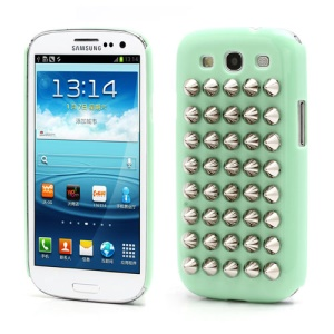 Silver Pyramid Studded Studs Rivet Hard Plastic Cover for Samsung Galaxy S3 / III I9300 - Green