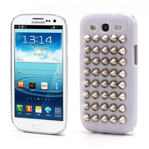 Silver Pyramid Studded Studs Rivet Hard Plastic Cover for Samsung Galaxy S3 / III I9300 - Purple