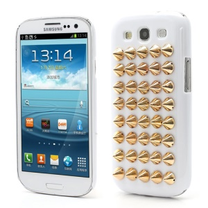 Cool Punk Rivet Studs Plastic Hard Cover Case for Samsung Galaxy S3 / III I9300 - White