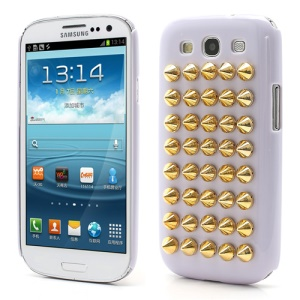 Cool Punk Rivet Studs Plastic Hard Cover Case for Samsung Galaxy S3 / III I9300 - Light Purple