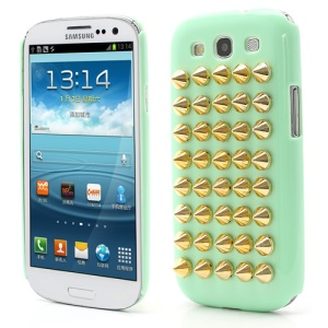 Cool Punk Rivet Studs Plastic Hard Cover Case for Samsung Galaxy S3 / III I9300 - Green