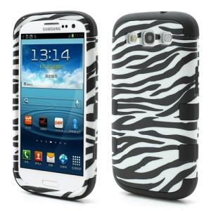 3 in 1 Zebra Stripe Plastic & Silicone Hybrid Case for Samsung Galaxy S3 / III I9300 - Black