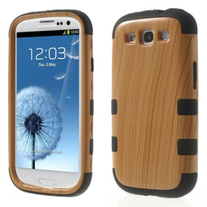 Wood Texture PC + Silicone Hybrid Back Case for Samsung Galaxy S III I9300 - Black