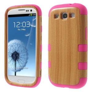 Wood Texture PC + Silicone Hybrid Cover Case for Samsung Galaxy S III I9300 - Fuchsia