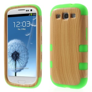 3 in 1 Wood Texture PC + Silicone Combo Case for Samsung Galaxy S III I9300 - Green