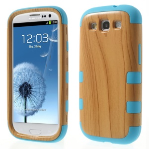 Wood Texture PC + Silicone Protective Case for Samsung Galaxy S III I9300 - Blue