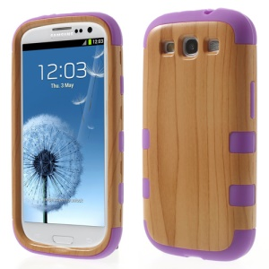 Wood Texture PC + Silicone Hybrid Shell Case for Samsung Galaxy S III I9300 - Purple
