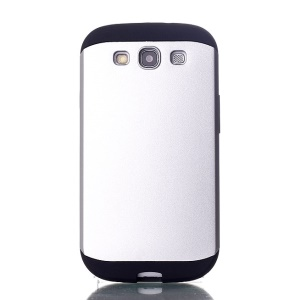 2 in 1 Slim Armor PC & TPU Hybrid Cover for Samsung Galaxy S3 i9300 - Silver