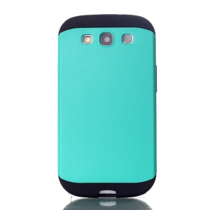 2 in 1 Hybrid PC & TPU Slim Armor Shell for Samsung Galaxy S3 i9300 - Cyan