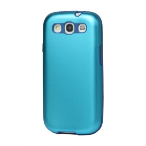 Aluminum Silicone Hybrid Case for Samsung Galaxy S 3 / III I9300 I747 L710 T999 I535 R530 - Light Blue