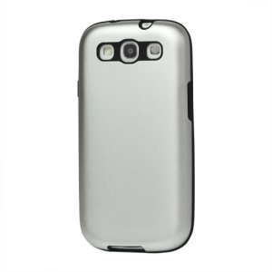 Aluminum Silicone Hybrid Case for Samsung Galaxy S 3 / III I9300 I747 L710 T999 I535 R530 - Silver