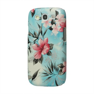 Fresh Flowers Leather Hard Case for Samsung Galaxy S 3 / III I9300 I747 L710 T999 I535 R530 - Blue