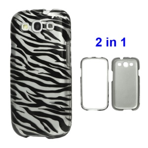 Snap-on Zebra Hard Case for Samsung Galaxy S 3 / III I9300 I747 L710 T999 I535 R530 - Silver