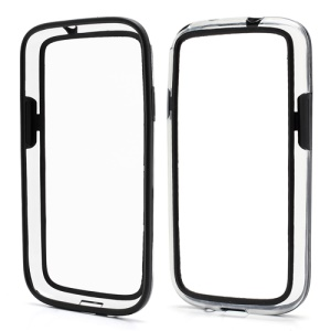 TPU &amp; Plastic Hybrid Bumper Frame Case for Samsung Galaxy S 4 IV i9500 - Transparent / Black
