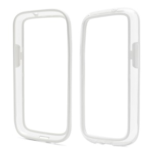 TPU & Plastic Hybrid Bumper Frame Case for Samsung Galaxy S 4 IV i9500 - Transparent / White