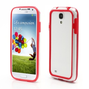 TPU &amp; Plastic Hybrid Bumper Frame Case for Samsung Galaxy S4 S IV i9500 i9505 - Transparent / Red