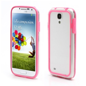 TPU &amp; Plastic Hybrid Bumper Frame Case for Samsung Galaxy S4 S IV i9500 i9505 - Transparent / Pink
