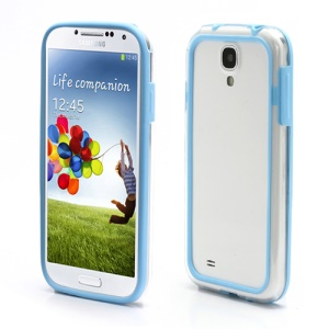 TPU & Plastic Hybrid Bumper Frame Case for Samsung Galaxy S4 SIV i9500 i9505 - Transparent / Blue