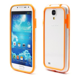 TPU & Plastic Hybrid Bumper Frame Case for Samsung Galaxy S 4 SIV i9500 i9505 - Transparent / Orange
