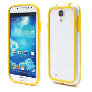 TPU &amp; Plastic Hybrid Bumper Frame Case for Samsung Galaxy S 4 IV i9500 i9505 - Transparent / Yellow