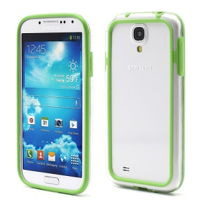 TPU & Plastic Hybrid Bumper Frame Cover for Samsung Galaxy S 4 IV i9500 i9505 - Transparent / Green