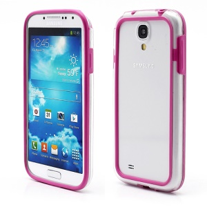 TPU &amp; Plastic Bumper Frame Case for Samsung Galaxy S 4 IV i9500 i9505 - Tranparent / Purple