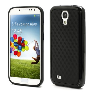 Cool 3D Cube Texture TPU & Plastic Hybrid Case for Samsung Galaxy S 4 IV i9500 i9505 - Black