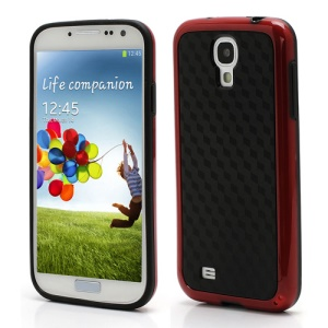Cool 3D Cube Texture TPU & Plastic Hybrid Case for Samsung Galaxy S 4 IV i9500 i9505 - Black / Red