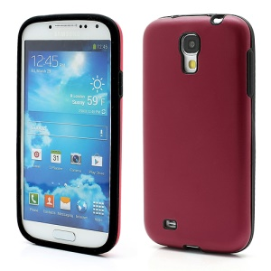 Smooth Aluminum and Silicone Hybrid Hard Case for Samsung Galaxy S4 IV i9500 i9505 - Red