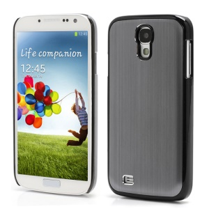 Luxury Brushed Aluminum Skin Plastic Case Accessories for Samsung Galaxy S IV 4 i9500 i9505 - Black / Grey