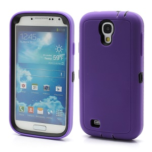 3 in 1 Silicone & Plastic Robot Combo Case for Samsung Galaxy S 4 IV i9500 i9502 i9505 - Purple